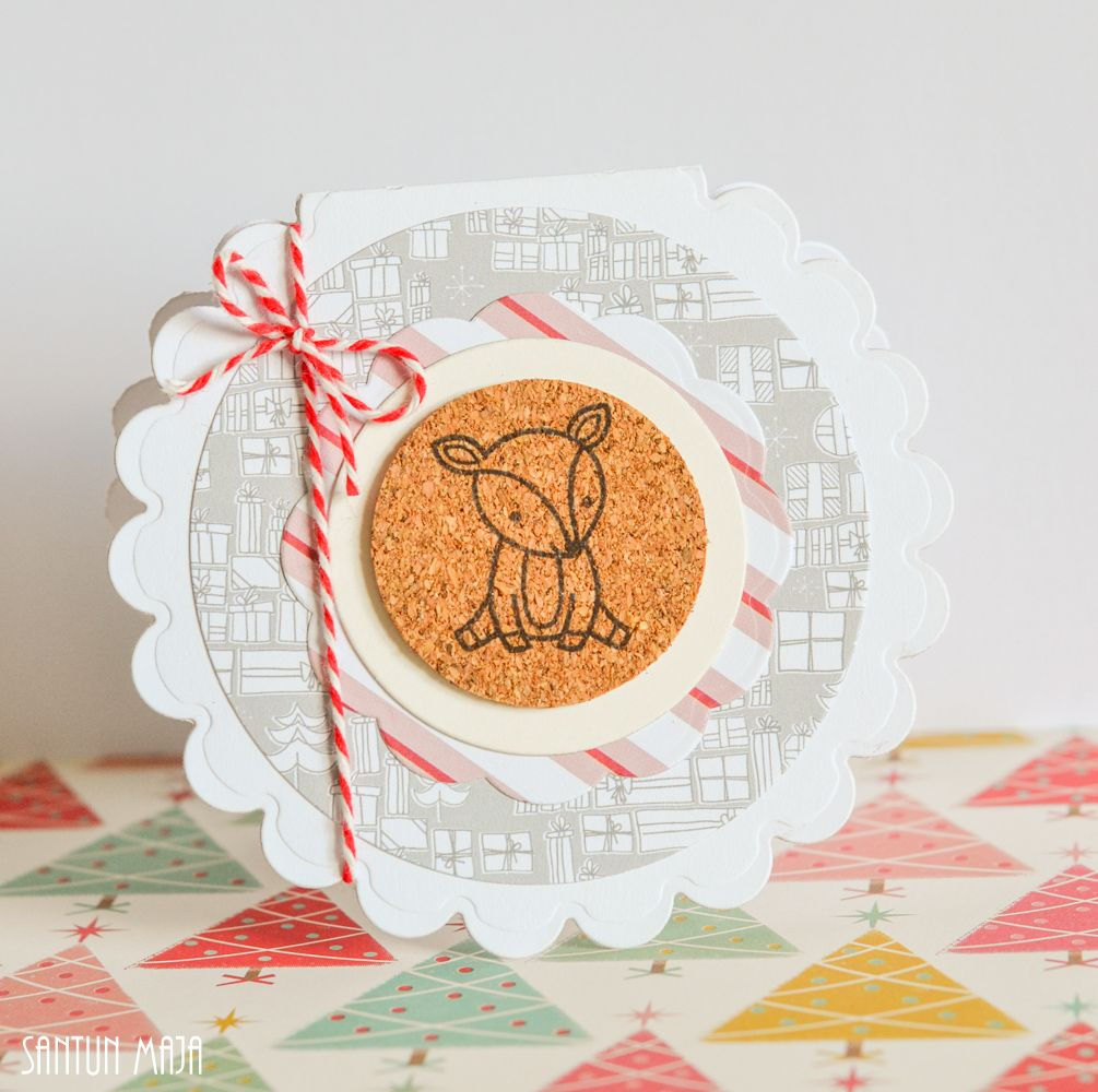 Santun Maja: Piparireunainen porokortti #diy #craftideas #christmascards #lawnfawn #cardmaking