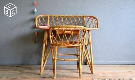 Ensemble Bureau Et Fauteuil En Osier Vintage Retro Decoration Haut Rhin Leboncoin Fr Mobilier De Salon Fauteuil Osier Chaise Rotin