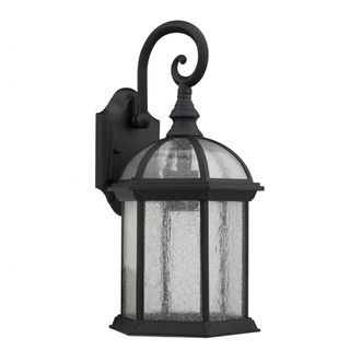 Transitional black clear seeded glass 1 light outdoor fixture transitional black clear seeded glass 1 light outdoor fixture overstock 65 aloadofball Choice Image