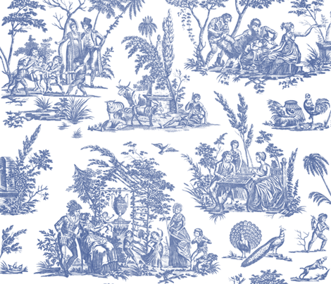 Colorful Fabrics Digitally Printed By Spoonflower Marseilles Toile Willow Ware Blue And White Willow Ware Canvas Texture Victorian Wallpaper