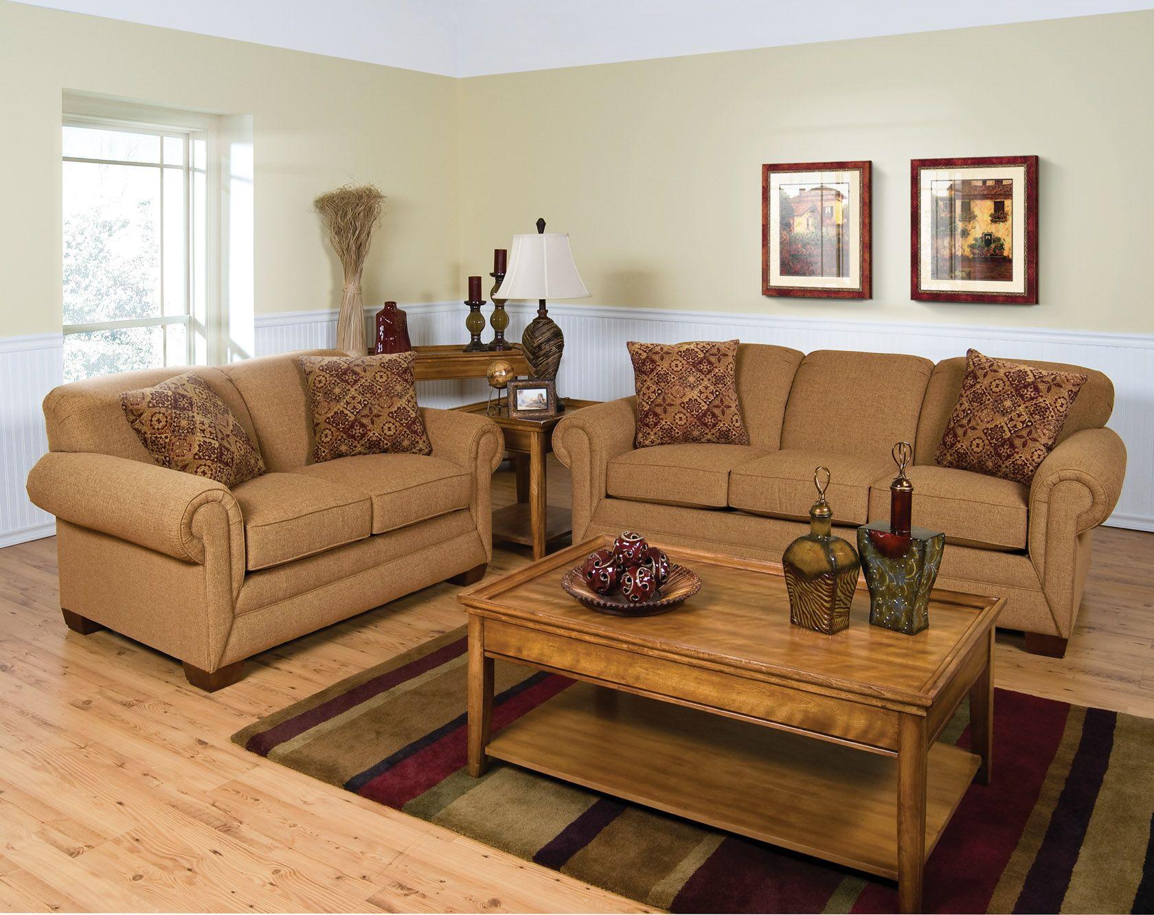 England Furniture 1430 with Impasto Camel and Fiori Amber fabrics