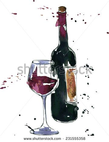 Wine Bottle And Glass Drawing By Watercolor And Ink Hand Drawn