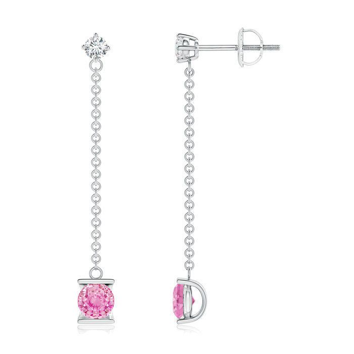 Angara Pink Sapphire and Diamond by the Yard Chain Drop Earrings KJLLd0v1LG