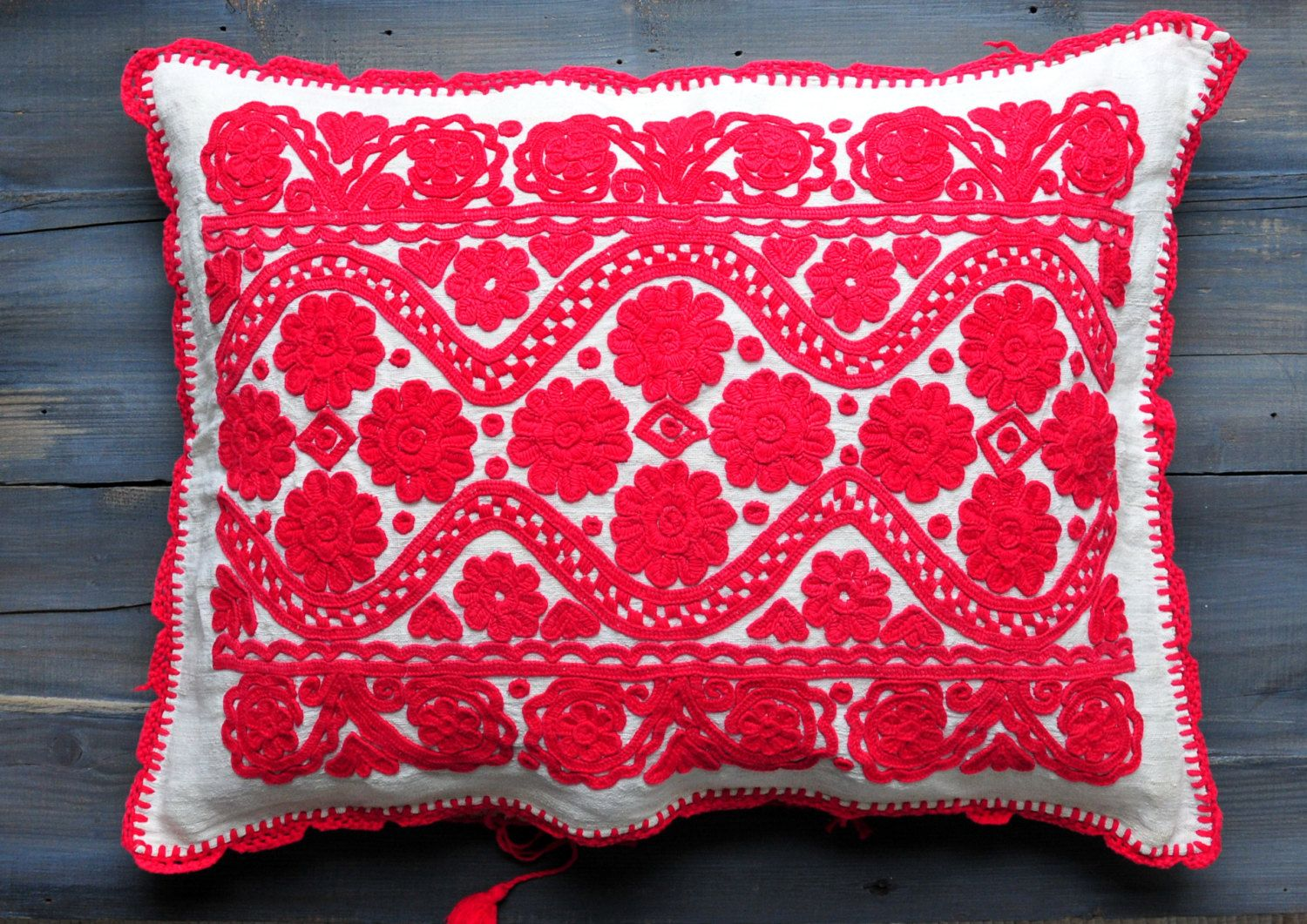 Hand Embroidered Pillocase, Embroidered Pillow, Ethnic Pillow, Folk Embroidered pillow, Linen Pillowcase, Red Embroidery, Floral Embroidery, by ColoursAndSoul on Etsy