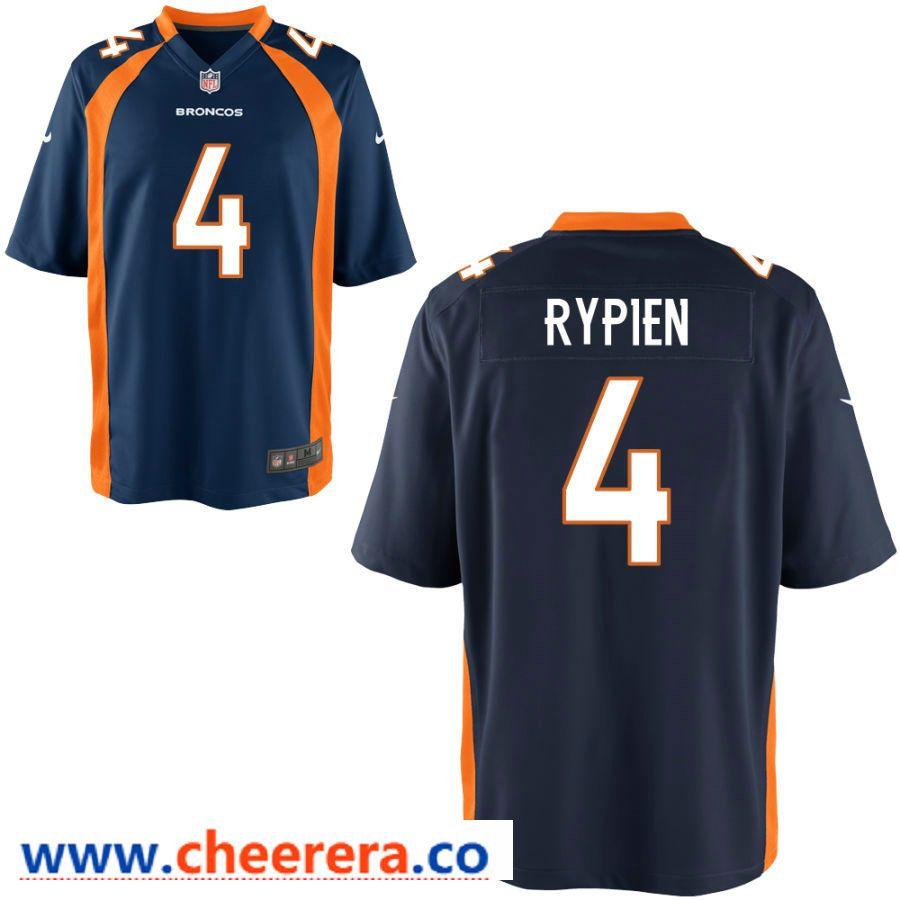 promo code 463cb 53ed9 Men's Denver Broncos #4 Brett Rypien Navy Blue Stitched NFL ...