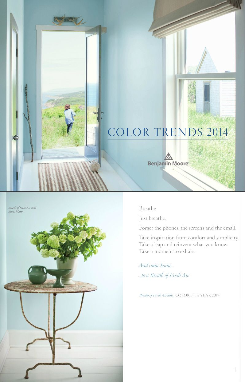 Breath of Fresh Air 806 Benjamin Moore Color of The Year