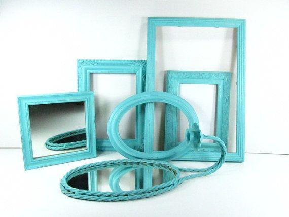 Shabby chic frame,picture frame set,turquoise,photo frame,wood frame,ornate frame,photography, gallery frame, on Etsy, $85.00