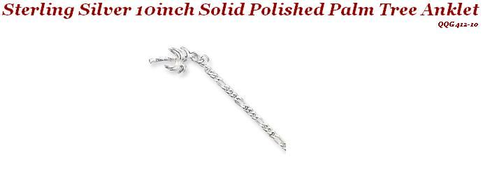 Sterling Silver 10 inch Solid Polished Palm Tree Anklet
