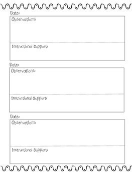 Anecdotal Notes Template | PBLA | Pinterest