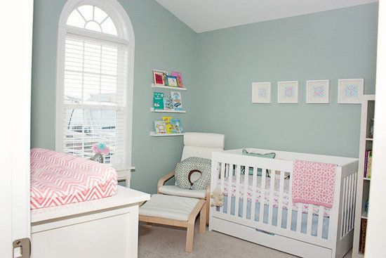 Less Is More: In baby Rory's nursery, shades of soothing seafoam green, salmon, ...