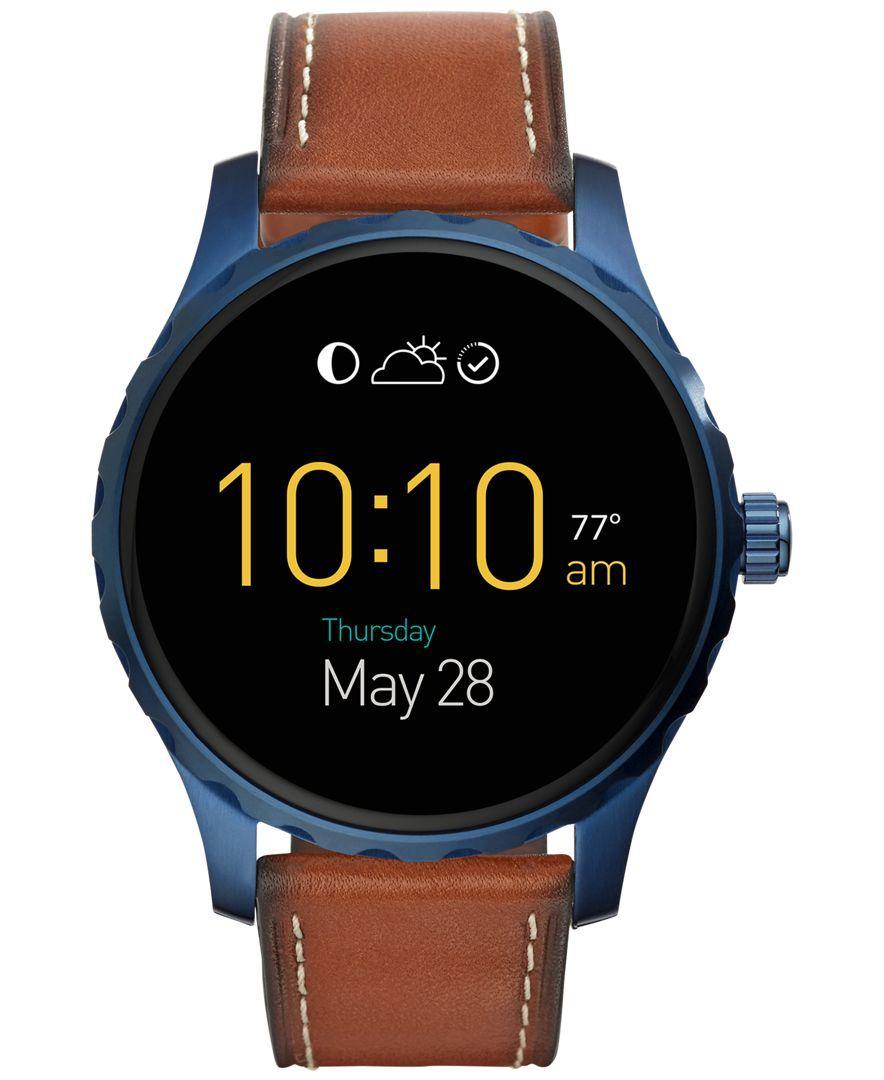 ba378f70484b Brazalete De Acero Inoxidable · Cronógrafo Fósil · Fossil Men s Digital Q  Marshal Saddle Leather Strap Smart Watch 45mm FTW2106