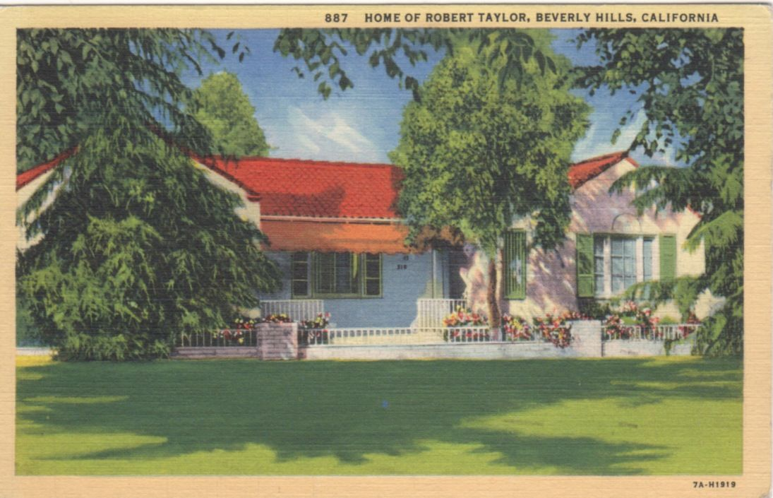 Vintage Hollywood Homes robert taylor's modest home in beverly hills | vintage postcards