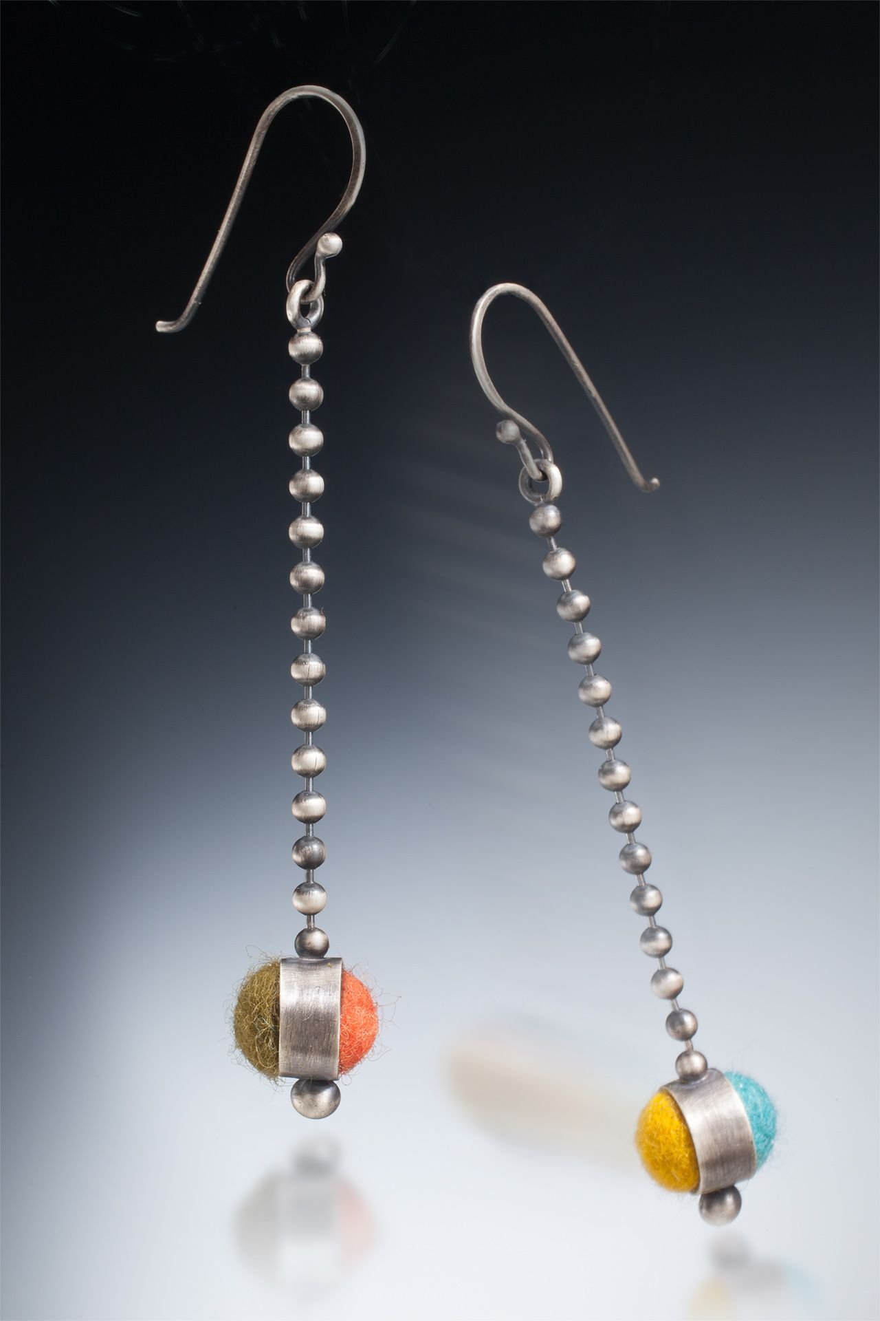 Felted Silver Double Sided Ball and Chain Earrings Photo by: Ralph Gabriner www.cararomano.com