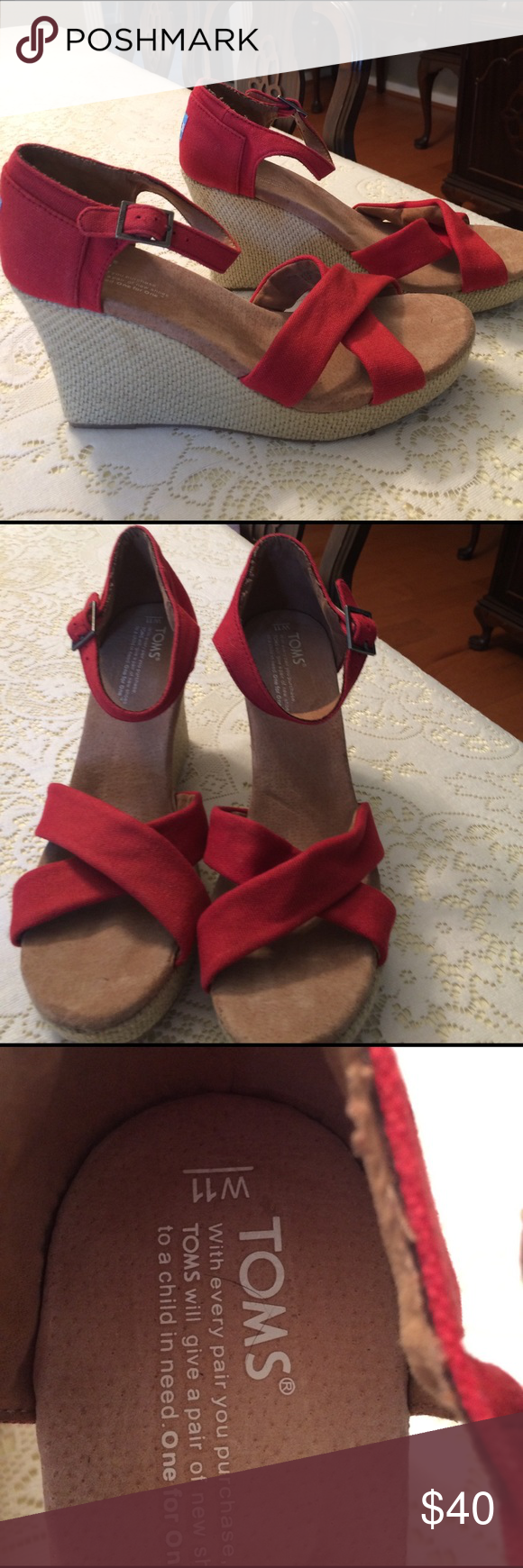 Shoes Red wedge heel. Toms. Never worn. TOMS Shoes Wedges