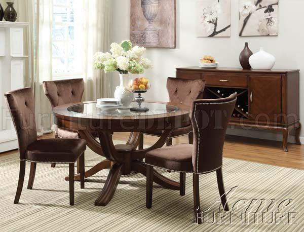 Wood Round Dining Room Set Seating 6 Round Glass Top