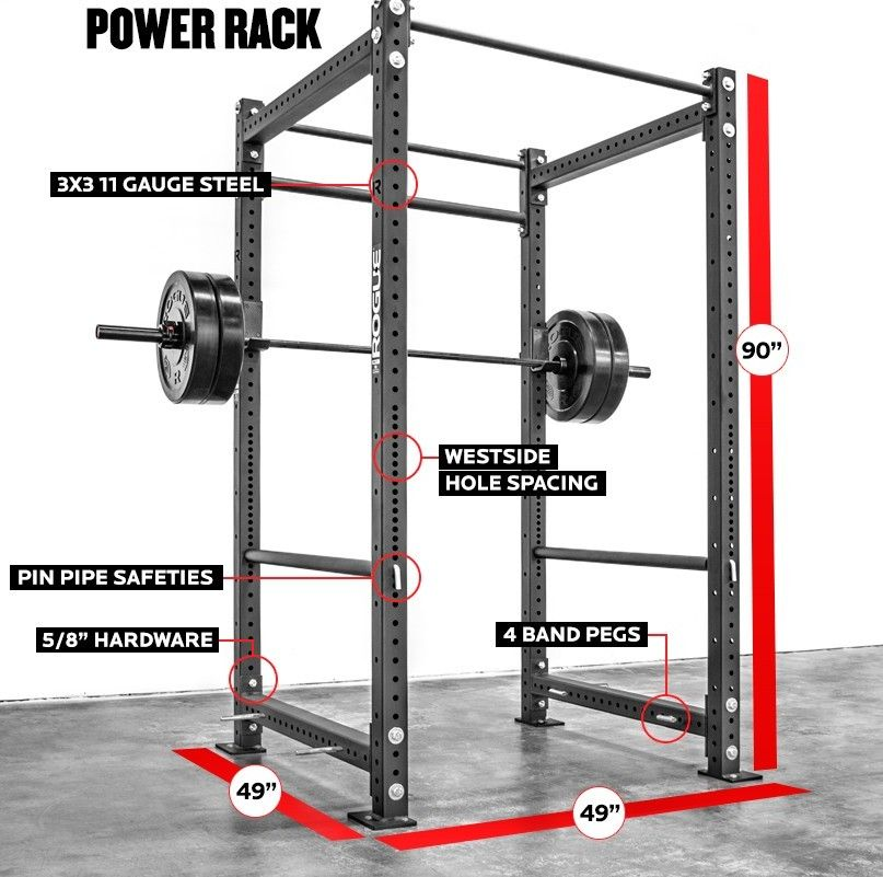 Square power rack measurements