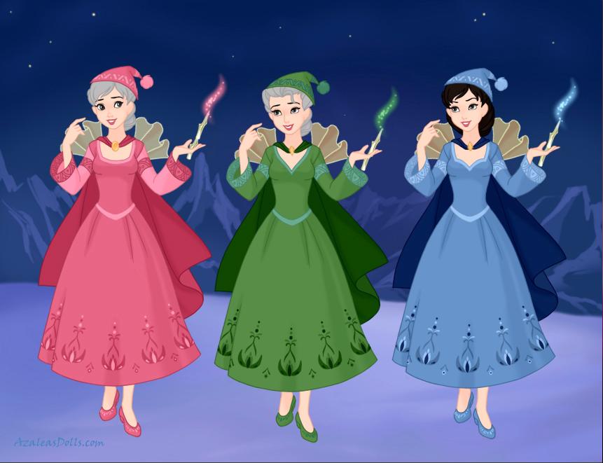 Flora Fauna And Merryweather Princess Aurora S Fairy Godmothers