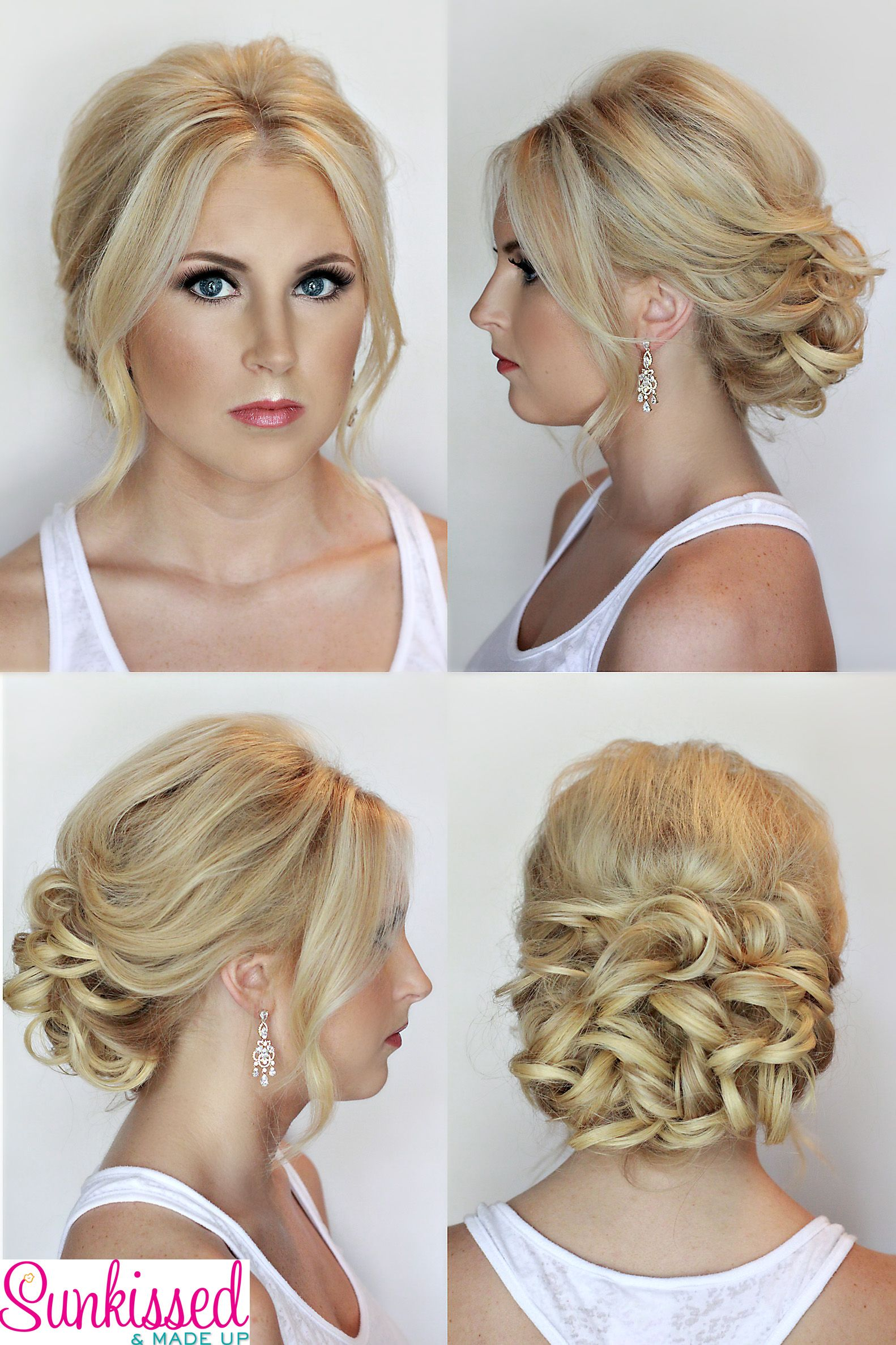 bridal hair and makeup, updo, blonde. hair and makeup by sunkissed
