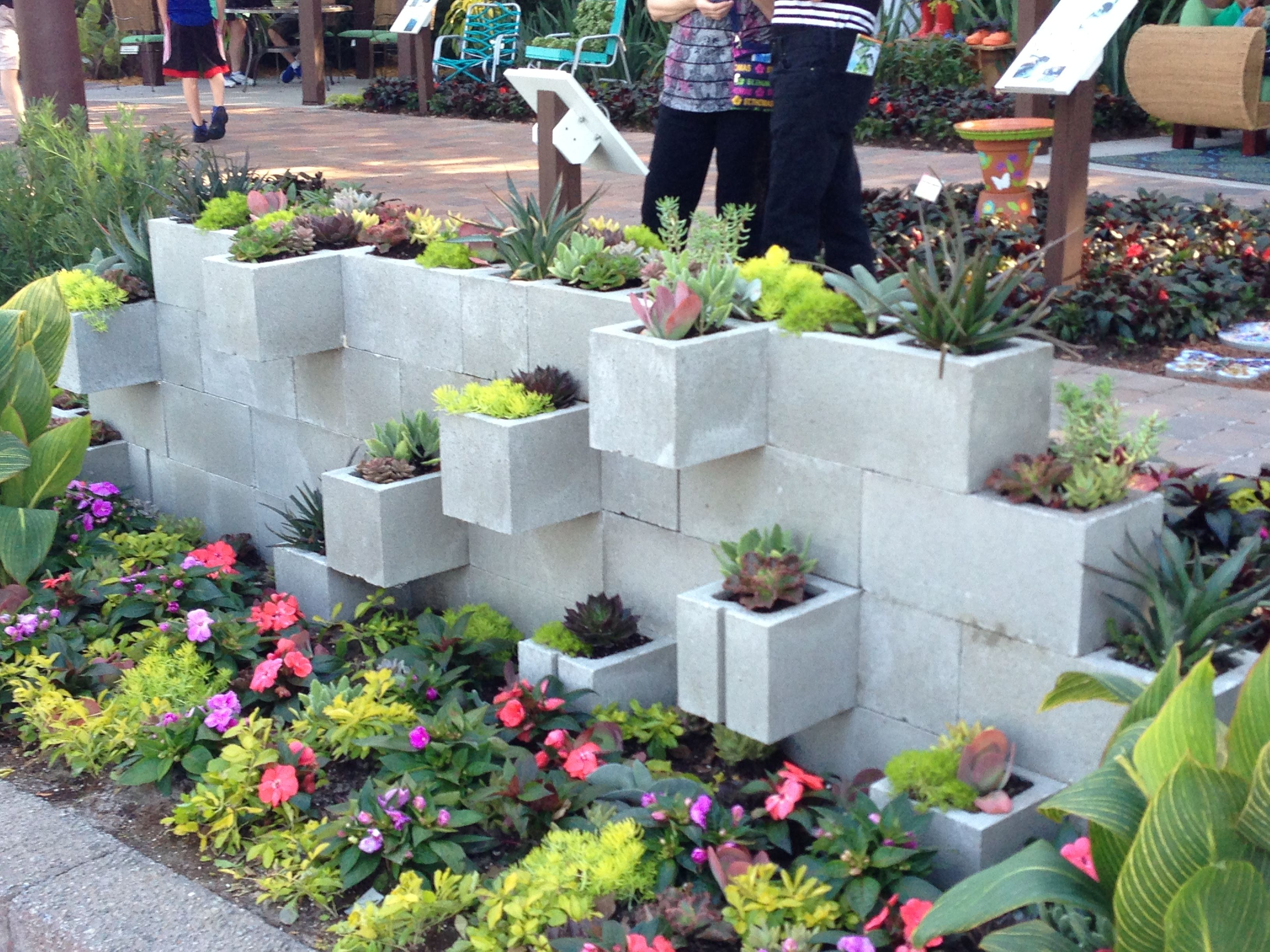 concrete block planter wall gardening pinterest