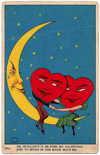 Valentine - spoon the moon. The she-heart looks suspicious. I think she's going to push him off and the moon knows it.