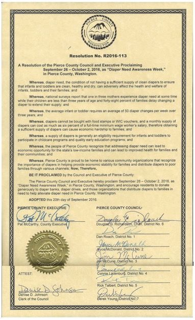 PIERCE COUNTY, WA- Council proclamation recognizing Diaper Need Awareness Week (Sep. 26-Oct. 2, 2016) #DiaperNeed Diaperneed.org