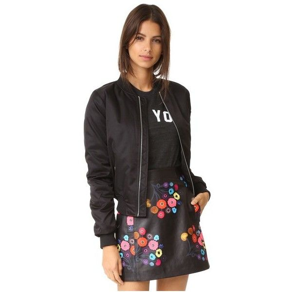 BB Dakota Atwood Satin Bomber Jacket (€97) ❤ liked on Polyvore featuring outerwear, jackets, black, bomber style jacket, bomber jacket, satin bomber jacket, fleece-lined jackets and lined bomber jacket