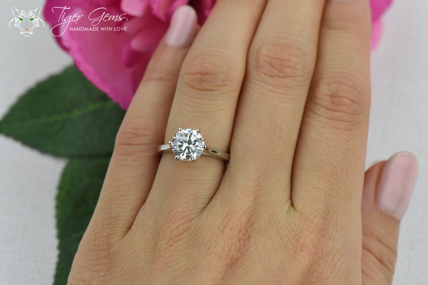 2 Ct Classic Solitaire Engagement Ring Low Profile Ring Man Made