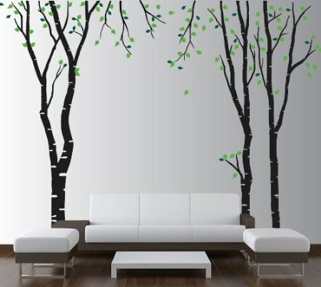 Amazon.com: Large Wall Birch Tree Decal Forest Kids Vinyl Sticker Removable with Leaves Branches 1119 (7 Feet Tall): Home & Kitchen