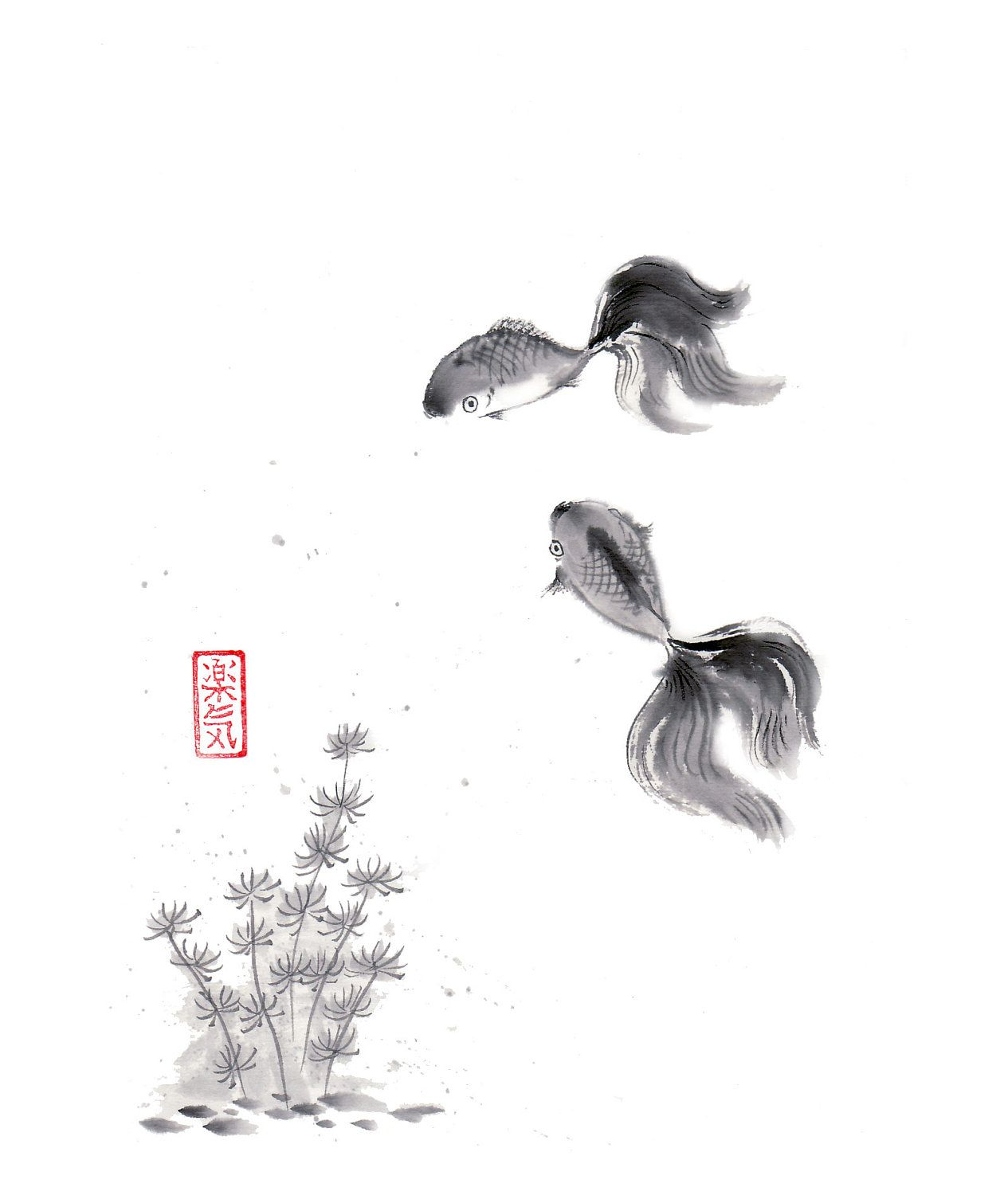 Original Sumi E Brush Painting Quot Golden Fish Quot Japanese