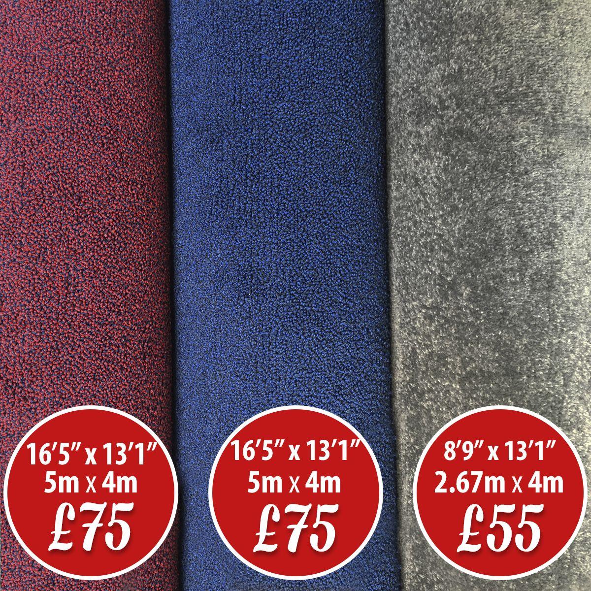 CARPET ROLL ENDS SALE 😊 Red Carpet with Blue Fleck 5m x