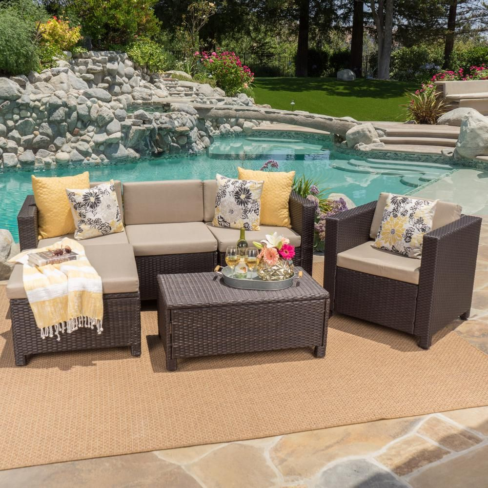 Noble House 6 Piece Wicker Patio Sectional Seating Set With Beige