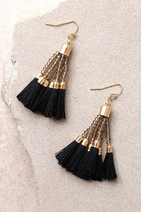 Black Tassel Gold Earrings