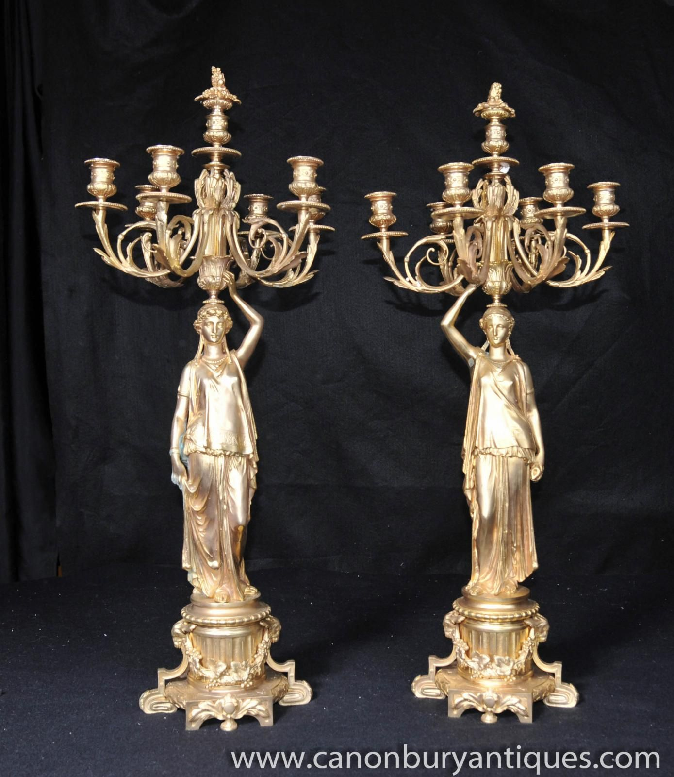 Photo of Pair French Empire Ormolu Figurine Candelabras Candles