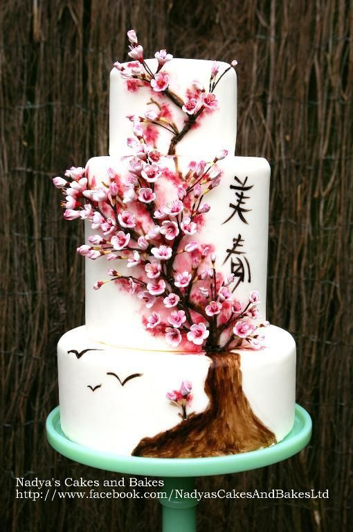 Cherry Blossoms Decorating Japanese Cherry Blossom Cake By