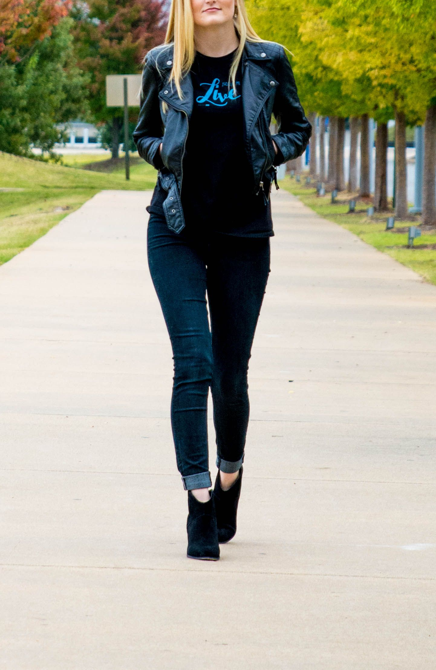 "Black & teal ""Just let me live"" tee, paired with dark skinny jeans, leather jacket, and black booties. The perfect fall combo!"