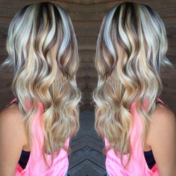 Strähnen blond mit dunklen Frisuren Bilder:
