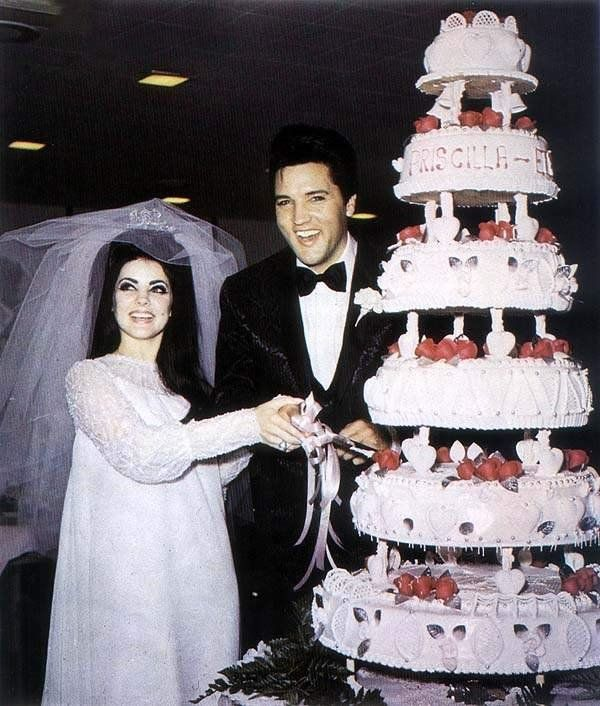 Elvis cutting the cake for the press. May 1  1967 in Las Vegas.