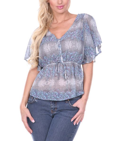 Take a look at the Gray & Purple Cape-Sleeve V-Neck Top on #zulily today!