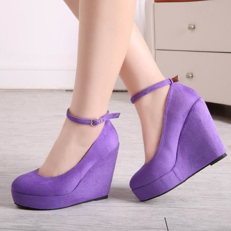 Purple Wedge Heels Ankle Strap Suede Pumps with Platform  elegantshoegirl   shoes  ankle  boots  flats  fashions  womens 866b62412ae4