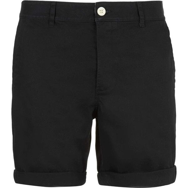 TOPMAN Black Chino Shorts ($16) ❤ liked on Polyvore featuring ...