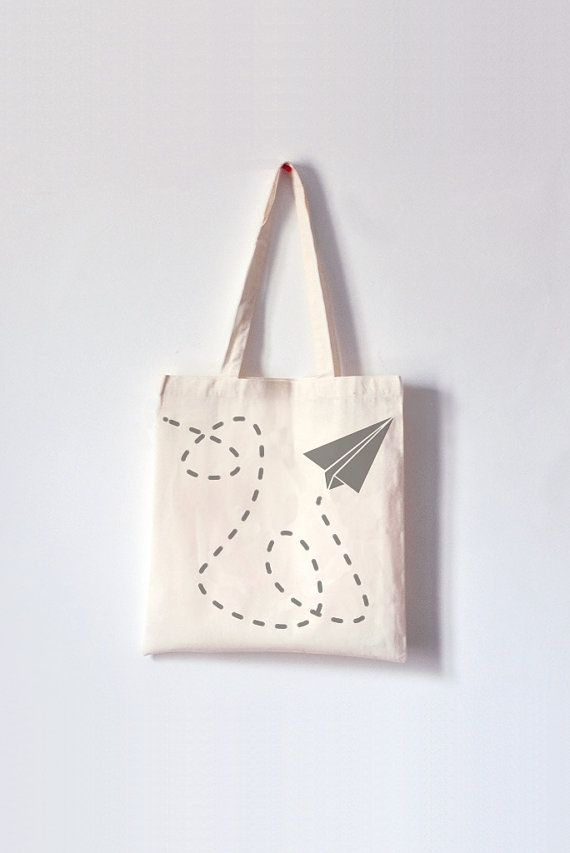 Paper Airplane Patterned - Re usable Tote Bag, Grocery Bag, Book bag, etc bag. on Etsy, $15.00