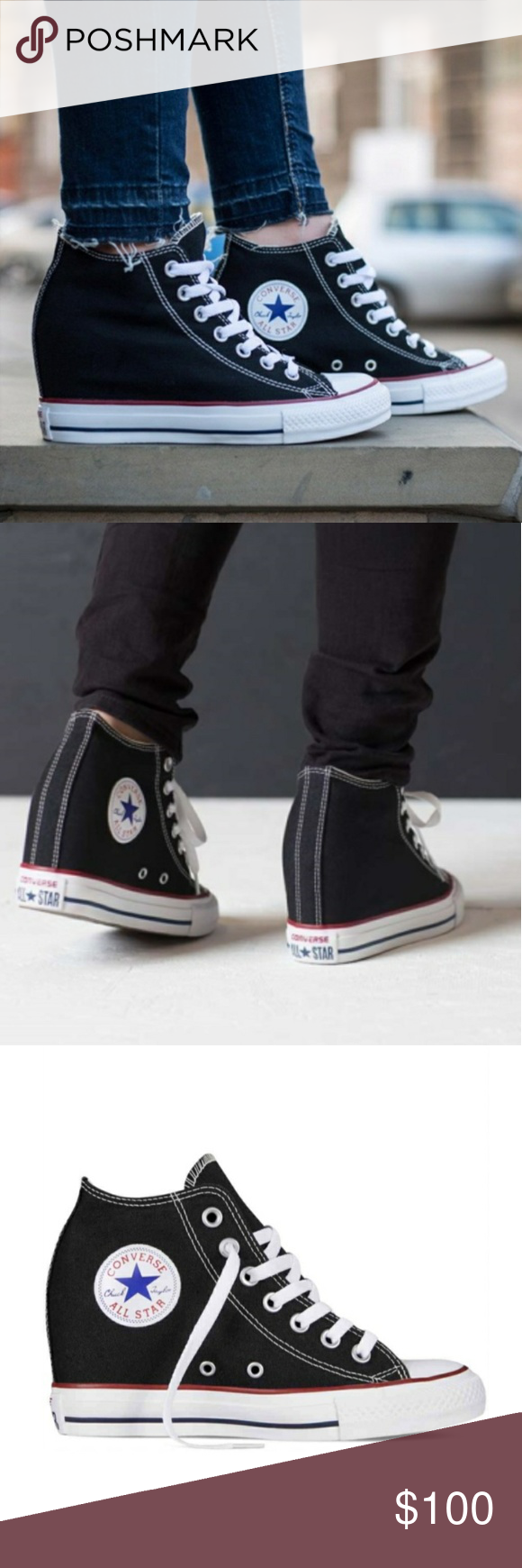 NWT Converse Chuck Taylor Lux Mid Wedge Sneakers Brand new