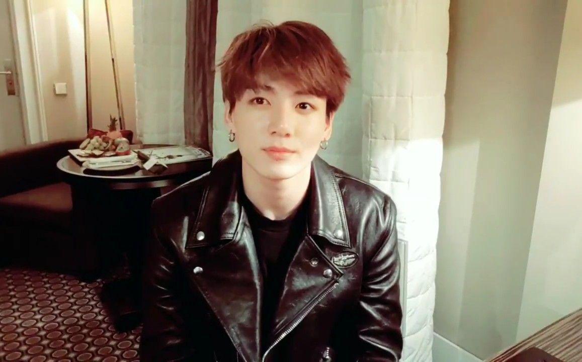 Jungkook Jk Kookie Bts Bangtan Kpop Vlive Leather Jacket Fashion Jungkook [ 720 x 1157 Pixel ]
