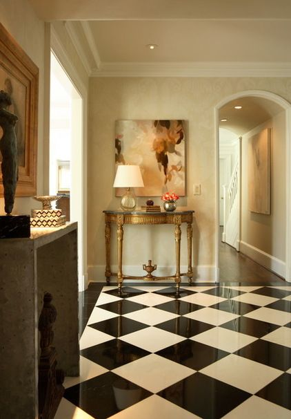 Floor Tile Pattern Checkerboard Two Colors Of Square Tiles Alternate To Create This Pattern They Can Be Set Straight O White Marble Floor Floor Design Home