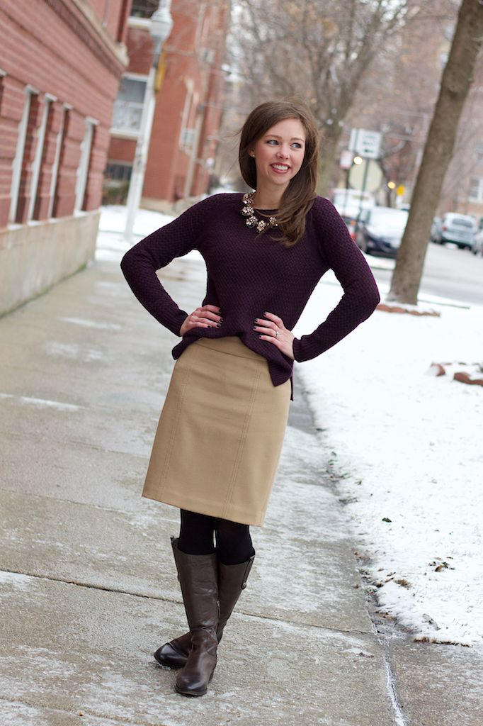 Burgundy Sweater Camel Skirt And Flat Boots Outfit