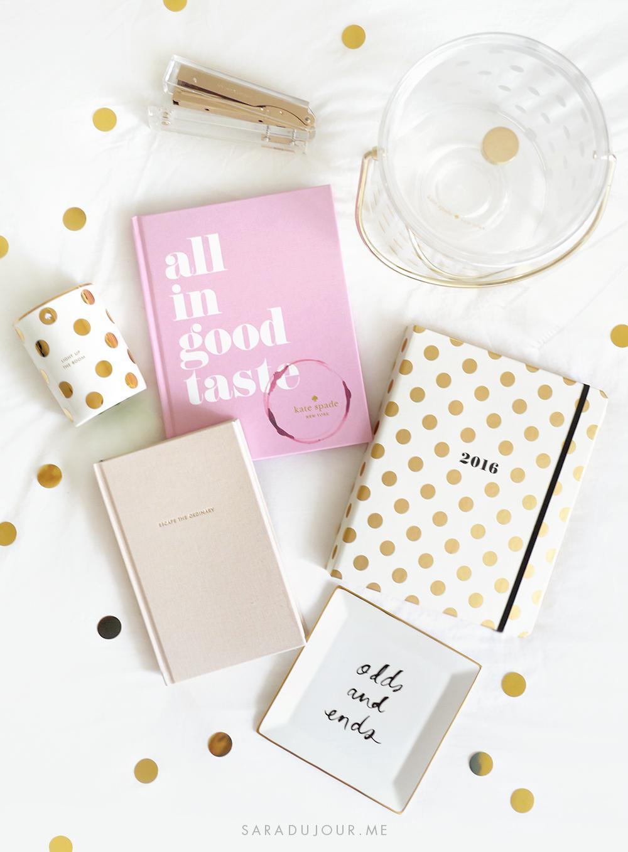Kate Spade Home & Stationary Haul • Sara du Jour | Home Office Pink ...