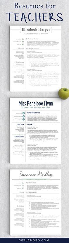 Resumes designed for teachers and educators. Teacher resume ...