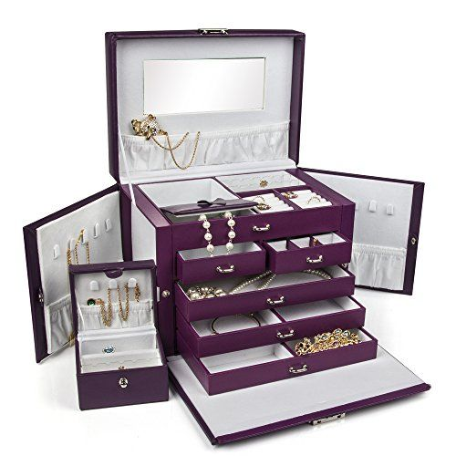 Large Purple Leather Jewelry Box Case Storage Organizer With Travel Case And Lock Leather Jewelry Box Jewelry Organizer Box Black Leather Jewelry