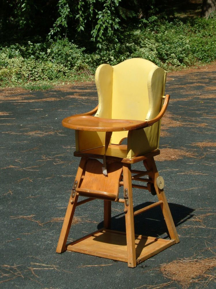 Vintage Wood High Chair Convertible Retro Vintage high
