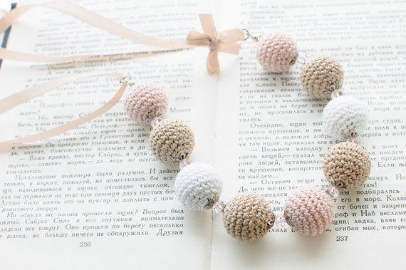 Crochet bead necklace  Beige pale pink white Shabby by SvetlanaN, $28.00